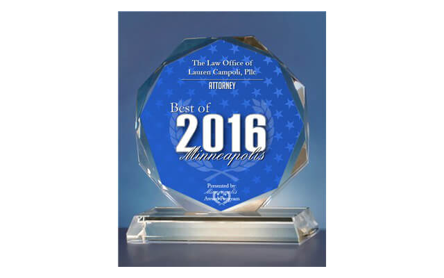 2016 Best of Minneapolis Awards for Attorney.